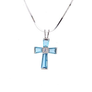 Lady's Jewelry Metal: Sterling Silver & Blue Topaz Cross Color: White Length: 18