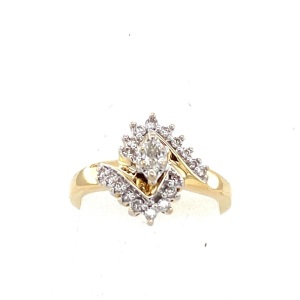 Women's yellow gold marquis diamond ring