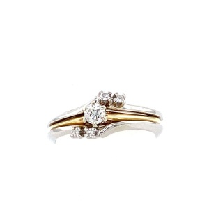 White and yellow gold diamond wedding set