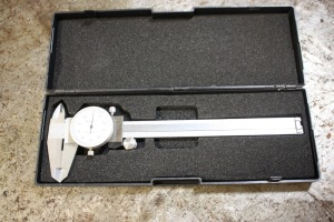"6"" dial caliper with box, white faced"