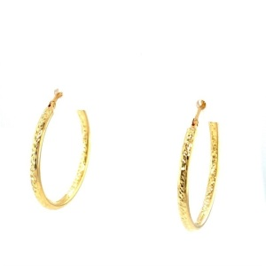 Lady's Yellow 14 Karat Diamond Cut Medium Hoop Earrings