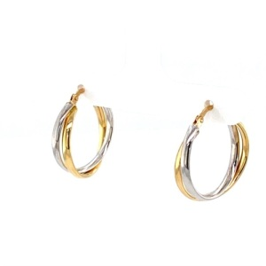 Lady's Two Tone 14 Karat Twisted Hoop Earrings