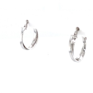 Lady's White 14 Karat Twisted Hoop Earrings