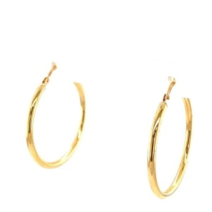 Lady's Yellow 14 Karat Medium Hoop Earrings