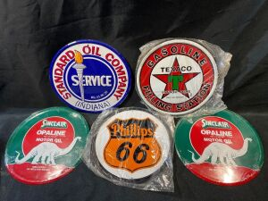 FIVE REPRODUCTION METAL SIGNS