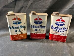 STANDARD OIL CANS AND ROACH AND ANT SPRAY CAN