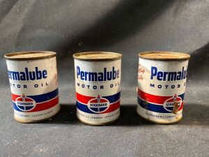 THREE PERMALUBE OIL CANS