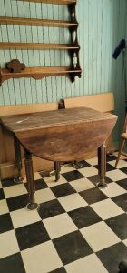 Old folding table drop-leaf oval