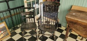 Nichols & Stone Co. Ornate Black & Gold Rocking Chair and Hitchcock chair