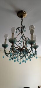 French Aqua Blue Opaline Drops and beaded  chandelier