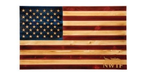 20x34 Wooden Flag Hand Chiseled Stars and NWTF Logo