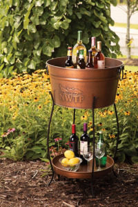 Copper Look Beverage Tub with Tray and Stand
