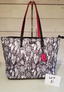 Reptilian print tote by Betsey Johnson