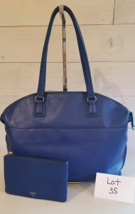 Aegean Sea blue satchel with matchingК wallet by Fossil.