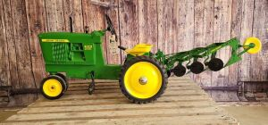 Customized Ertl John Deere 4020 Diesel pedal tractor set