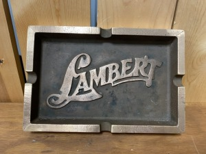 Large Lambert Brass Advertising Ash Tray
