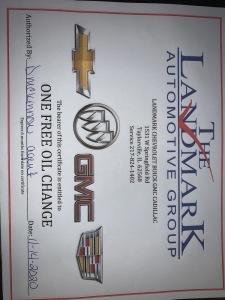 2 Free Oil Change Certificates