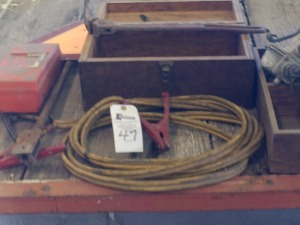 JD Jumper Cables, (2) Wooden Boxes &  Misc.
