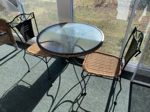 Glass Top Tbale w/ Two Chairs