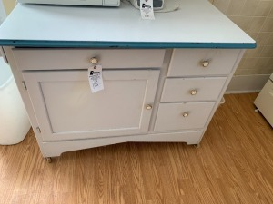 Rolling Kitchen Island w/Contents
