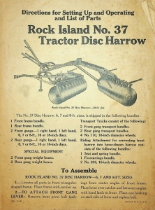 Rock Island Plow Company/Rock Island No.37 Tractor Disc Harrow/ Directions for Setting Up & Operating & List of Parts/ Catalog