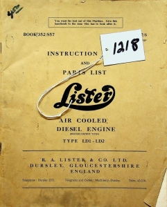 R.A.Lister & Co. LTD., Instruction Book and Parts List, Lister Air Cooled Diesel Engine Type LD1-LD2