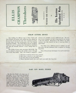 Ellis Champion Thresher Sales Brochure