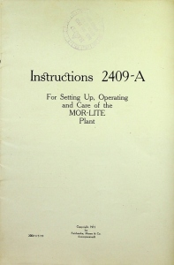 Fairbanks, Morse & Co. Instructions 2409-A For setting up, Operating and Care of the MOR-LITE Plant