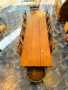 9.5 FT Farm Harvest Table With Assorted Oak Chairs - Antique
