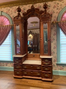 Antique East Lake Victorian Dressing Table With Marble Tops