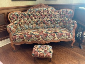 Large Antique Victorian Sofa with Matching Footstool