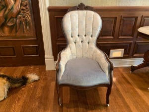 Antique Victorian East Lake Parlor Chair- Blue