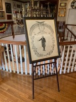 Antique Lithograph - G. Washington - Stick And Ball Walnut Easel