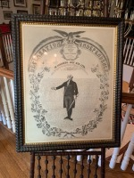 Antique Lithograph - G. Washington - Stick And Ball Walnut Easel - 2