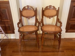 (2) Eastlake Carved Side chairs with Caned Seat/Back
