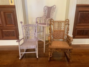 Antique Victorian Ornate Wicker Childs Rockers and Highchair
