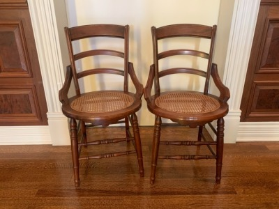 Antique Walnut Side Chairs With Caned Seats