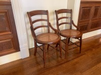 Antique Walnut Side Chairs With Caned Seats - 2