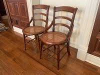 Antique Walnut Side Chairs With Caned Seats - 4