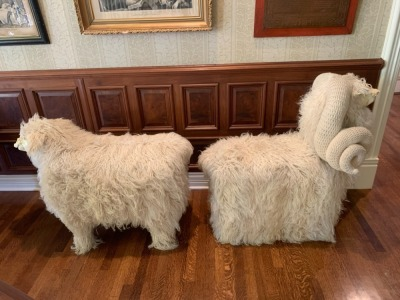 Flocati Wool Chairs by Edna Cataldo C 1970  Sheep and Ram