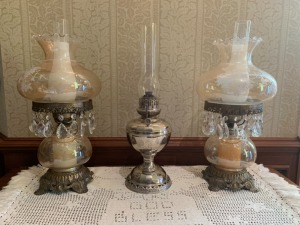(3) Bradley And Hubbard Vintage Oil And Electric Lamps Lot  Victorian Style