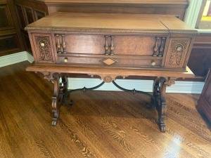 Antique Victorian Carved Walnut Spinet Desk Lot