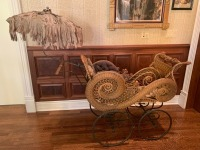 Ornate Antique Victorian Wicker Baby Stroller With Umbrella