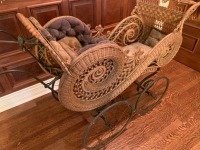 Ornate Antique Victorian Wicker Baby Stroller With Umbrella - 3