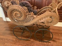 Ornate Antique Victorian Wicker Baby Stroller With Umbrella - 4