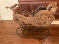 Ornate Antique Victorian Wicker Baby Stroller With Umbrella - 9