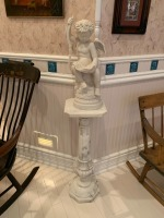 Antique Marble Pedestal With Putti Statue