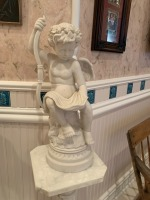 Antique Marble Pedestal With Putti Statue - 5