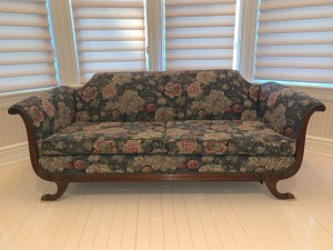 Antique Empire Sofa With Floral Fabric