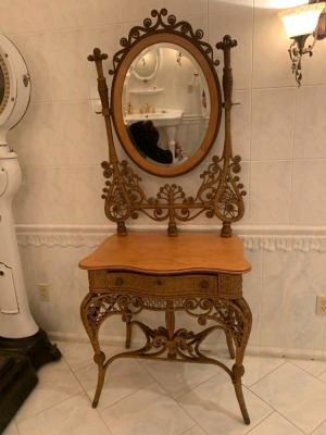 Antique Victorian Ornate Wicker Vanity With Mirror